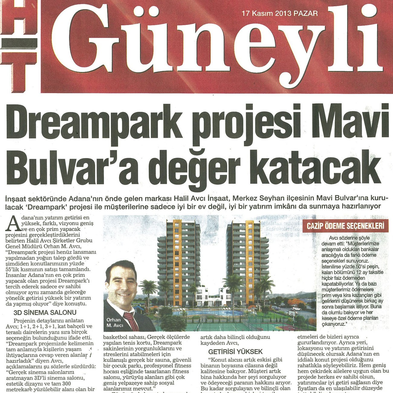 Dreampark projesi Mavi Bulvar 'a değer katacak – HT Güneyli