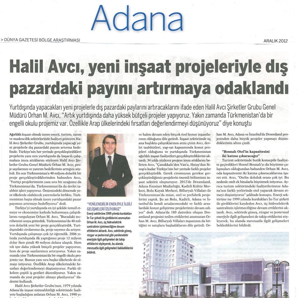 Halil Avcı, yeni inşaat projeleriyle dış pazardak